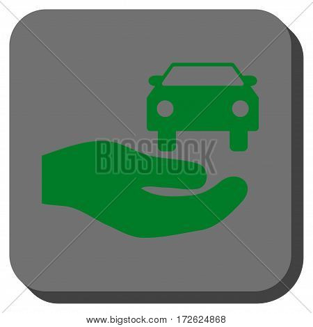 Car Gift Hand interface button. Vector pictogram style is a flat symbol on a rounded square button green and gray colors.