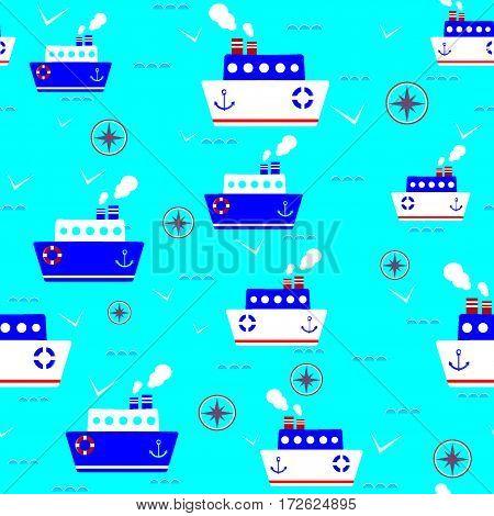 kids seamless pattern steamship version