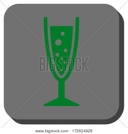 Champagne Glass toolbar icon. Vector pictogram style is a flat symbol on a rounded square button green and gray colors.