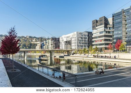 Famous Confluence District With People In Lyon