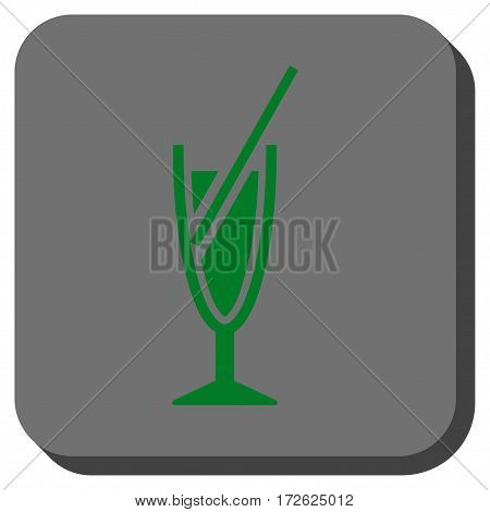 Cocktail interface toolbar icon. Vector pictogram style is a flat symbol on a rounded square button green and gray colors.