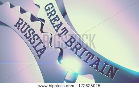 Great Britain Russia Shiny Metal Gears - Interaction Concept. with Lens Effect. Great Britain Russia - Illustration with Glow Effect. 3D Illustration.