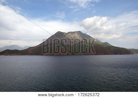 Adrasan Harbor and Moses Mountain (Musa Dagi) in Kumluca, Antalya