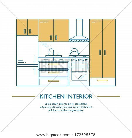 Vector kitchen interior design brochure cover in line style. Flyer home decoration. Business presentation minimalistic background. Magazine catalog geometric house elements. Poster or booklet