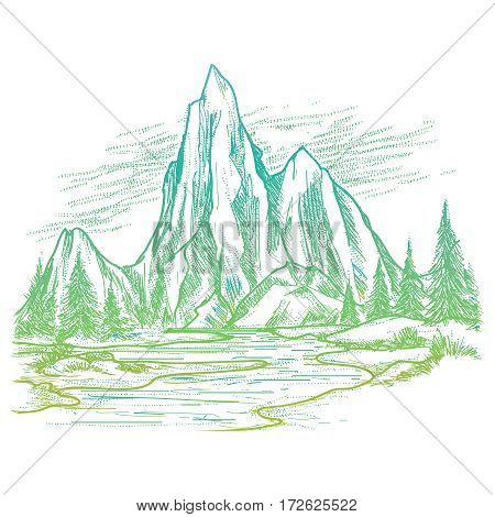 Hand drawn colorful landscape with mountain and forest isolaed on white background. Vector nature sketch