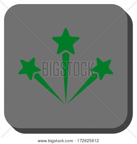 Festive Fireworks rounded icon. Vector pictograph style is a flat symbol on a rounded square button green and gray colors.