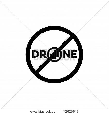 Prohibition sign drone fly black color isolated on white background. Ban drone. Vector Illustration