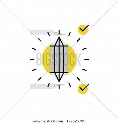 Modern vector icon of perfection details of gemstone diamond cut and assessment. Premium quality vector illustration concept. Flat line icon symbol. Flat design image isolated on white background.