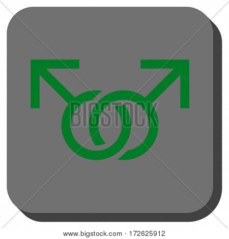 Gay Love Symbol square icon. Vector pictogram style is a flat symbol on a rounded square button green and gray colors.