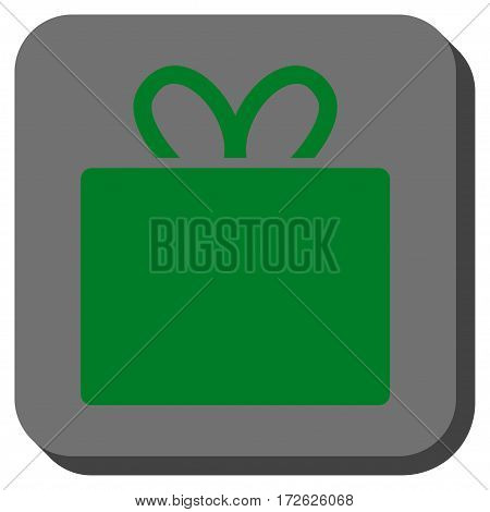 Gift rounded button. Vector pictograph style is a flat symbol inside a rounded square button green and gray colors.