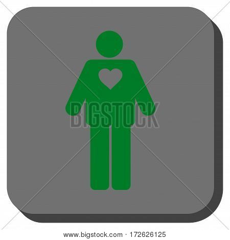 Groom square button. Vector pictogram style is a flat symbol on a rounded square button green and gray colors.