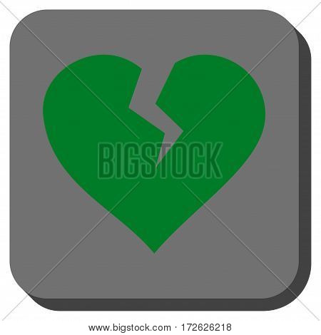 Heart Break square button. Vector pictograph style is a flat symbol on a rounded square button green and gray colors.
