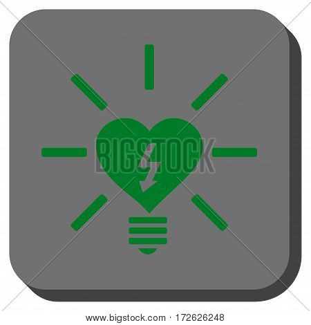 Heart Electric Bulb interface icon. Vector pictograph style is a flat symbol centered in a rounded square button green and gray colors.