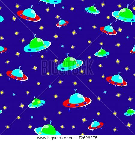 kids seamless pattern Flying saucer version