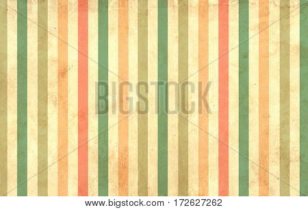 Grunge background with striped pattern of different retro pastel colors and paper texture