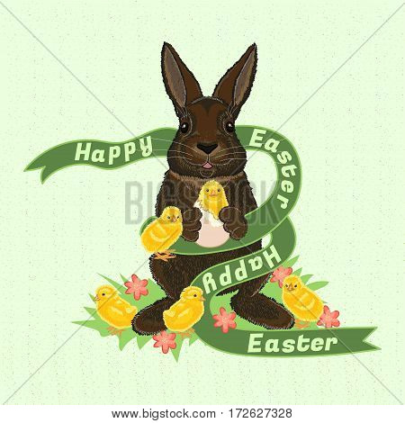 Happy Easter. Vintage celebrate card with rabbit, chicks, a ribbon with the text on the grass with flowers. Holiday vector illustration.