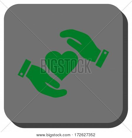 Love Heart Care Hands interface toolbar icon. Vector pictograph style is a flat symbol in a rounded square button green and gray colors.