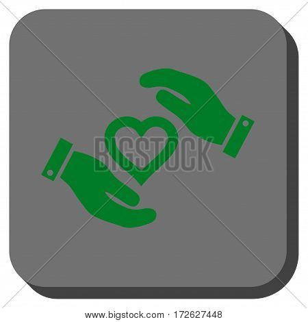 Love Heart Care Hands interface icon. Vector pictograph style is a flat symbol centered in a rounded square button green and gray colors.