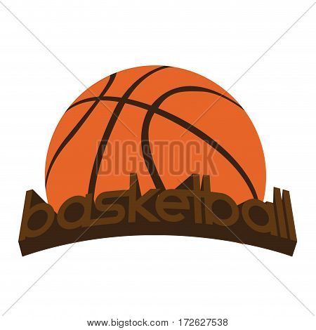 Isolated basketball emblem with a ball and text, Vector illustration