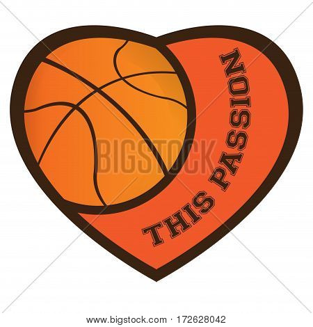 Isolated heart shaped emblem with a basketball ball, Vector illustration