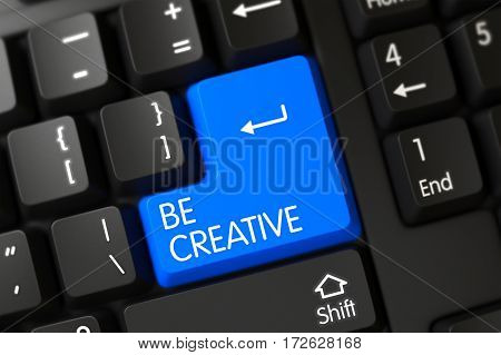 Be Creative Concept: Modern Laptop Keyboard with Blue Enter Button Background, Selected Focus. 3D Render.