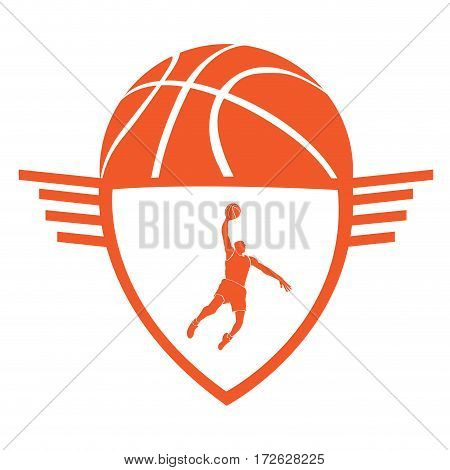 Isolated basketball emblem with a silhouette of a player, Vector illustration