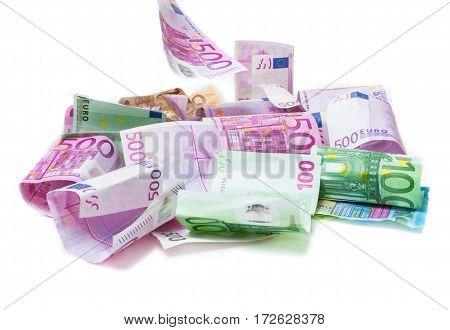 Money rain bills fall on the table