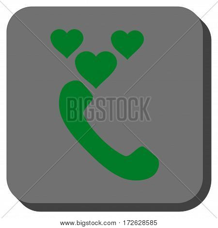 Love Phone Call interface toolbar icon. Vector pictograph style is a flat symbol centered in a rounded square button green and gray colors.