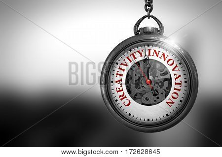 Business Concept: Creativity Innovation on Watch Face with Close View of Watch Mechanism. Vintage Effect. Creativity Innovation Close Up of Red Text on the Watch Face. 3D Rendering.