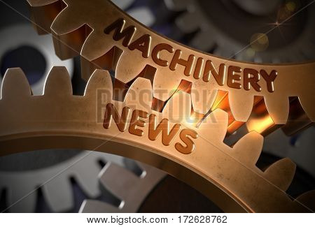 Golden Metallic Gears with Machinery News Concept. Machinery News on Golden Metallic Gears. 3D Rendering.