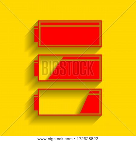 Set of battery charge level indicators. Vector. Red icon with soft shadow on golden background.