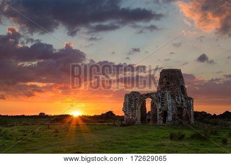 st Benet's Abbey at sunset Norfolk Broads