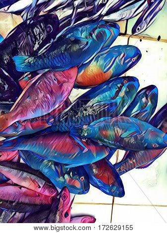 Sea fish on market table digital illustration. Abstract picture of coral fish pile for sell. Parrotfish fresh catch image. Tropical fish for food. Exotic cooking ingredient. Bunch of parrot fishes