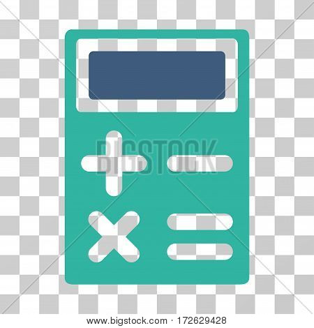 Calculator icon. Vector illustration style is flat iconic bicolor symbol cobalt and cyan colors transparent background. Designed for web and software interfaces.