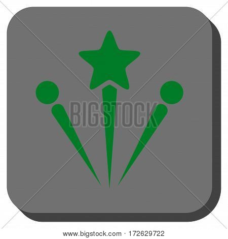 Salute Fireworks interface button. Vector pictogram style is a flat symbol on a rounded square button green and gray colors.