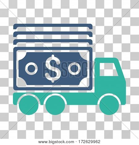 Cash Lorry icon. Vector illustration style is flat iconic bicolor symbol cobalt and cyan colors transparent background. Designed for web and software interfaces.
