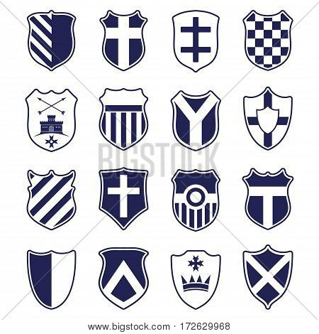 Set of blue heraldic shields with emblems isolated on white background. Vector illustration.