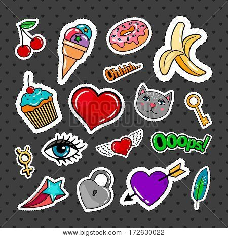 Sweet quirky badges set with food, hearts and cat on dark background. Vector colorful stickers and patches collection