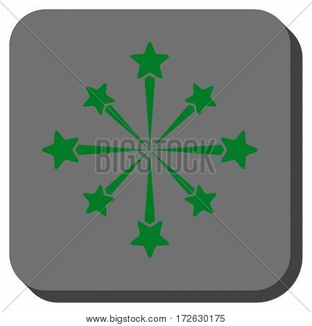 Star Burst Fireworks rounded button. Vector pictograph style is a flat symbol centered in a rounded square button green and gray colors.