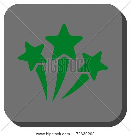 Star Fireworks square icon. Vector pictograph style is a flat symbol centered in a rounded square button green and gray colors.