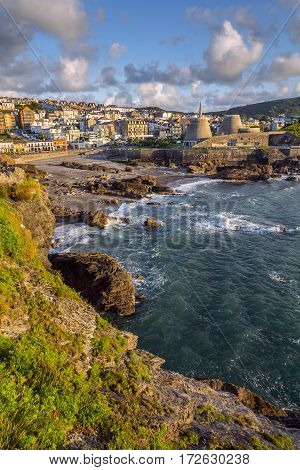 View of the town of Ilfracombe from Capstone Hill. Evening. Low tide at sea. North Devon. UK