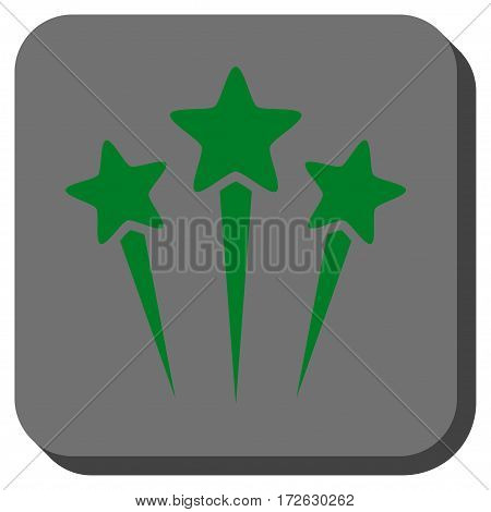 Star Salute rounded button. Vector pictogram style is a flat symbol centered in a rounded square button green and gray colors.