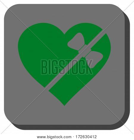 Tied Love Heart rounded button. Vector pictograph style is a flat symbol centered in a rounded square button green and gray colors.