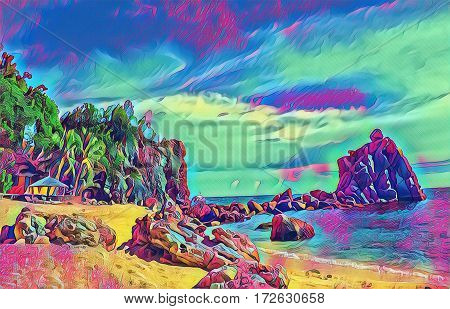 Tropical beach with stones and rocks. Sand beach view with cloudy sky. Nature of tropical island. Exotic seaside digital illustration. Still sea water and sunny beach. Relaxing fantastic image