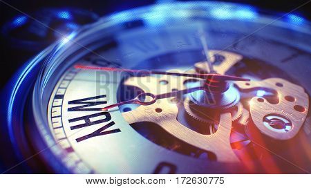 Vintage Pocket Clock Face with Way Inscription on it. Business Concept with Lens Flare Effect. Way. on Vintage Watch Face with CloseUp View of Watch Mechanism. Time Concept. Vintage Effect. 3D Render.