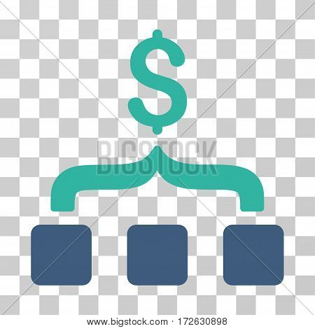 Collect Money icon. Vector illustration style is flat iconic bicolor symbol cobalt and cyan colors transparent background. Designed for web and software interfaces.