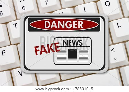 Fake News danger sign A black and white danger sign with text Fake News on a keyboard 3D Illustration