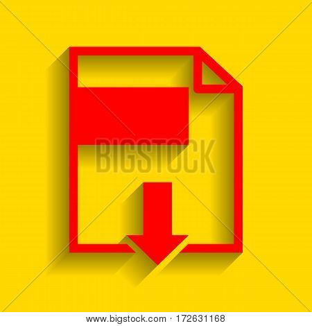 File download sign. Vector. Red icon with soft shadow on golden background.