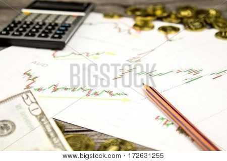 calculator, pencils, banknote and coins on graffica the Dow Jones on forex market at grey table