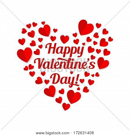 Valentines day heart realistic vector illustrations. Red paper cut hearts and lettering on white background